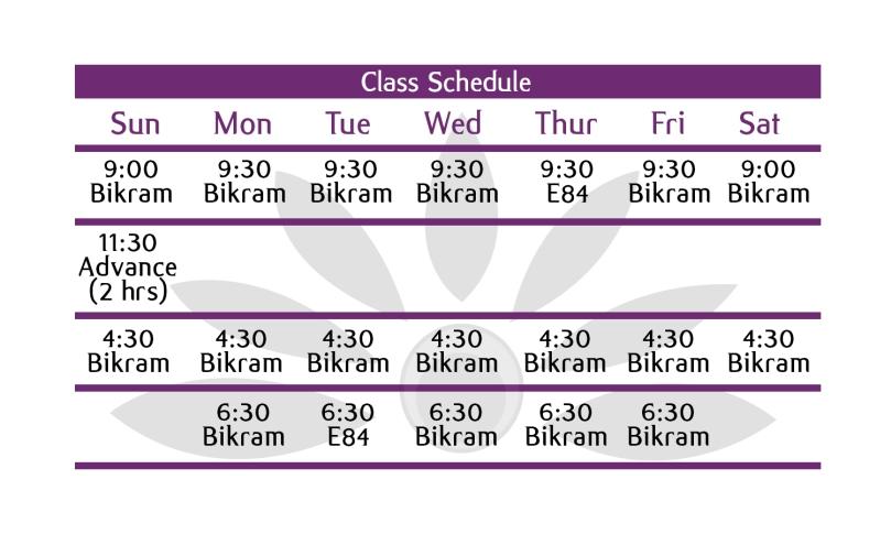 bikram schedule 120217
